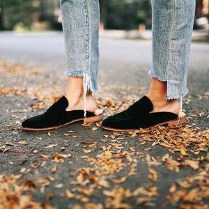 Free People Black Velour Velvet Ease Loafer/ Mule
